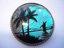 C1930S Vintage Mariposa Alas Y Plata palmeras & Río iluminado por la Luna Escena Pin Broche