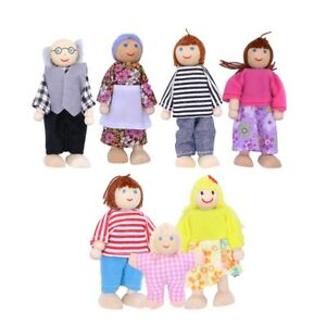 Wooden Furniture Dolls House Family Miniature 7 People Doll Kids Toys Gift Xmas