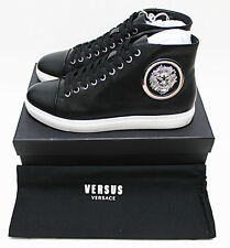 $350 VERSACE VERSUS Lion Medallion Badge Black Leather Mid Sneakers 42-EU 9-US