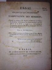 MEDECINE,1er empire ,THESE ; ESSAI ,DISSERTATION  scorbut emputation , 1804/18
