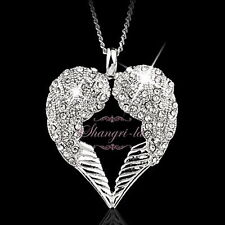 18k White Gold GP Womens Silver Angel Wings Heart Crystal Long Necklace Sp224