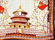 ITALY LONGCHAMP SETA Silk 19x19 Women Scarf BeiJing Temple Chinese Lantern Bag
