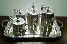 Vantage 5 Piece Silver Plated Serving Set Tea,Coffee,Creamer, Sugar Bowl &Tray