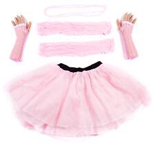 Baby Pink Neon UV Tutu Set Skirt Gloves Leg Warmers Necklace Womens Fancy Dress