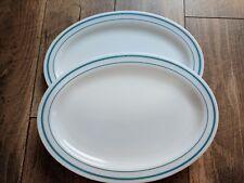 Set of 2 Vintage PYREX Oval Platter Restaurant Ware 799-27/31 TEAL BLUE 12 X 9