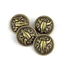 5PCS Quality Bronze Metal Goat Carving Shank Buttons Coats Craft DIY 17 20 25 MM