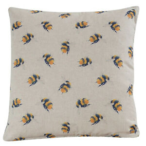 """Cute Bumble Bee Cushion. Linen-feel fabric. 17x17"""" Square. Yellow and Black."""