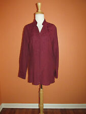New Coldwater Creek Size S Maroon Crossdye Embellished Long Shirt