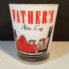 Fathers Nite Cap Glass Barware Fun Novelty 15oz Bar White Cased Vintage 60s