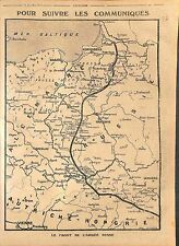Map Carte Front Imperial Russian Army Austria Hungary Germany Russia WWI 1914