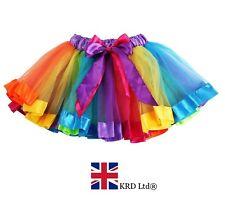 GIRLS RAINBOW TUTU Skirt Petticoat Fancy Dress Kids Ballet Princess Dance UK 01