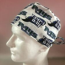 TAMPA BAY RAYS (white):  Surgical Scrub Hat, Chefs Hat, Skull Cap (handmade)