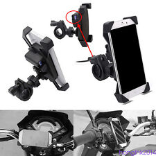Black Motorcycle ABS Plastic Mount Holder Frame Accessory For Phone+USB Charger