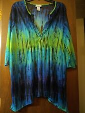 Catherines Womens Plus Size 1X Blue/green Sheer blouse top 3/4 Sleeve
