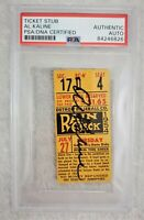 Al Kaline Signed Vintage July 27,1954 Rookie Detroit Tigers Baseball Ticket PSA