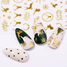 Christmas Gold 3D Nail Stickers Snowflake Nail Art DIY Decoration Decals US