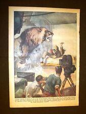 Retrocopertina Domenica del Corriere 1937 Roma Cinema Leone sfonda lastra