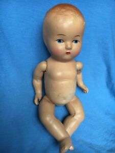 """Composition Unmarked Baby Doll Painted Eyes Face Jointed Limbs 10"""" W/ Pajamas"""