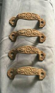Set of 4 Antique Cast Iron Drawer Bin Pulls Handles  Star Vtg Old 413-19J