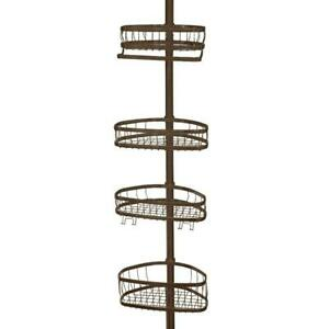 York 5 to 9 ft. Tension Pole Shower Caddy in Bronze by interDesign