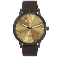 PUMA Suede Herrenuhr Armbanduhr Leder Braun Herren PU104101006  UVP: 129,90€