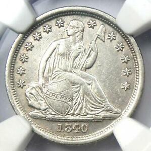 1840-O Seated Liberty Dime 10C No Drapery - NGC AU Details - Rare Date Coin