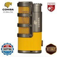 Cigar Jet Lighter 3 Torch Jet Flame Windproof  W Cutter Punch Cigarette Metal