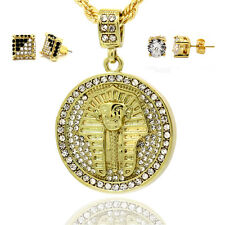 Mens 16K Gold Plated Pharaoh Pendant  With Rope Chain 2pair Earrings 3Bundle set