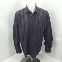 Bugatchi Uomo Black Gray Striped Contrast Cuffs Mens Casual Dress Shirt L