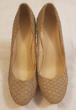 Calvin Klein beige Kendall textured fish skin high heel court shoes size US 7