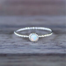 925 Silver White Fire Opal Woman Simple Wedding Proposal Jewelry Ring Sz6-10
