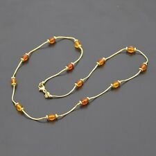 Brand New 18ct yellow gold necklace with natural amber beads
