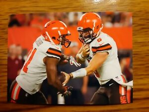 Baker Mayfield Nick Chubb Browns Football 4x6 Game Photo Picture Card