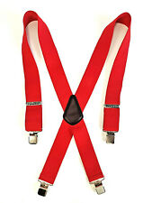 "Carhartt Red Clip On Logo Clamp Suspenders 45002 46"" Length Adjustable EUC!"
