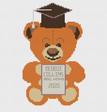Graduation Teddy Cross Stitch Kit by Florashell