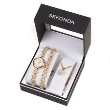 Sekonda Ladies Gold Crystal Watch Bracelet Necklace Gift Set 4682G