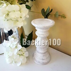 Short chunky CANDLE HOLDER aged stone effect white washed rustic country decor