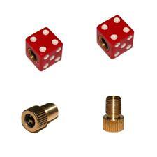 2er Set Ventilkappen und 2 Fahrrad Adapter - Gezinkter Würfel - in rot für jede
