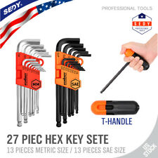 26 pc Allen Wrench Hex Key Set Tool Alan Hex Metric SAE Ball End Short Long Arm