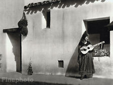 1926 Vintage CALIFORNIA Santa Barbara Spanish Paseo Woman Guitar Music By HOPPE