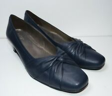 "Brand New, Ladies HOTTER Navy Blue Leather Court Shoes ""Enshrine"" Size 9 / 43"