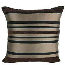 Set of 4 Brown Chenille Stripe Variable Stripe / Design Cushion Covers - 18x18""