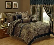 7-Piece Lisbon Jacquard Floral Comforter Set King Black/Gold