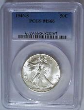 Lot of 1 PCGS-Certified, MS66, 1946-S Walking Liberty Half Dollar: Blast White