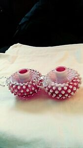 """PAIR OF BEAUTIFUL FENTON CRANBERRY OPALESCENT CANDLE HOLDERS APPROX 3.5"""" T"""
