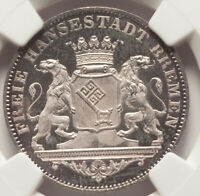 1864 German States Breme Free City 36 Grote 1/2 Taler NGC MS64 Prooflike MIRRORS