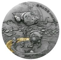 2019 1 Oz Silver Niue $1 SPACE MINING 2 Chondrite Meteorite Coin.