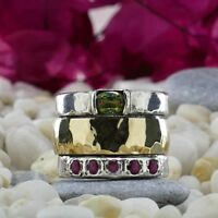 Spinner 9k Yellow Gold Silver 0.95Ct Green & Pink Tourmaline Gemstones Ring Size