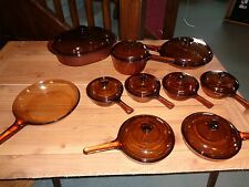 Set of Vision WARE PYREX Amber COOK 19 piece near perfect visions corning
