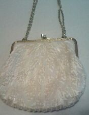 Beautiful Vintage White Beaded Handbag Made in Hong Kong Clean